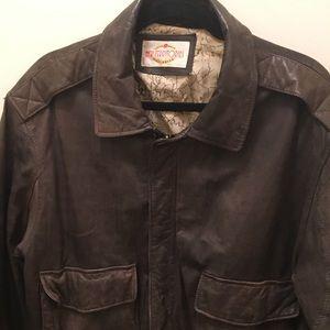 1980s Vintage Leather Jacket - World Map